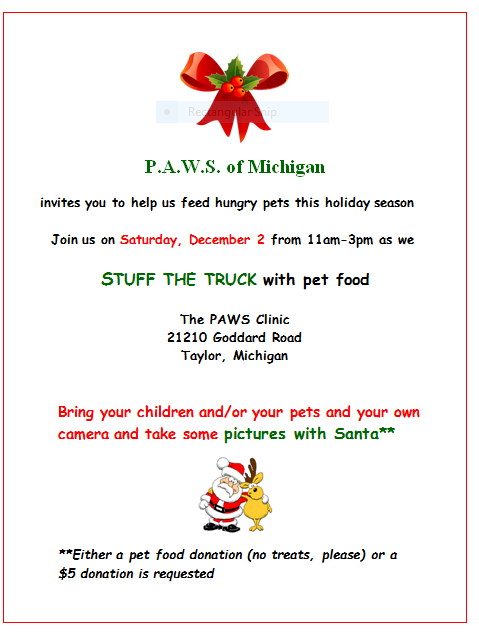 """Stuff the Truck"" photos with Santa @ The PAWS Clinic 
