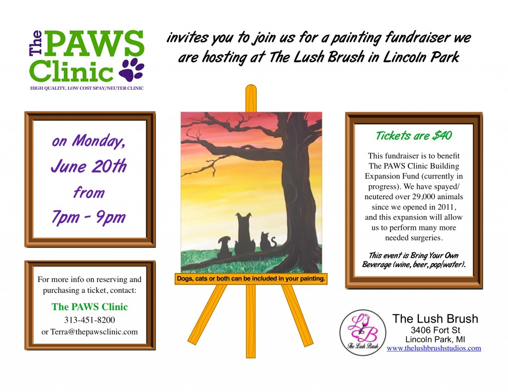 Lush Brush fundraiser to benefit The PAWS Clinic @ The Lush Brush | Lincoln Park | Michigan | United States