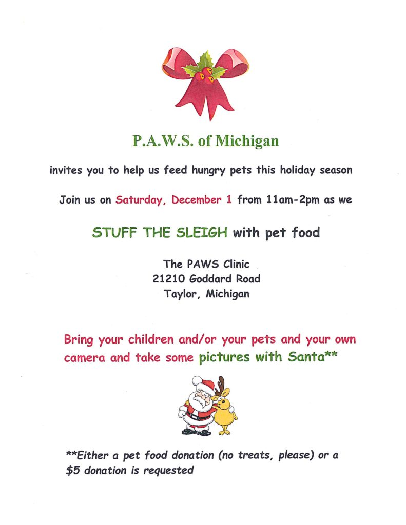 """Stuff the Sleigh"" photos with Santa @ The PAWS Clinic 